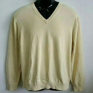 Brooks Brothers Silk Cotton V Neck Preppy Sweater